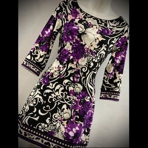 NEW WHBM..SOPHISTICATED ..PURPLE PATTERN XS DRESS